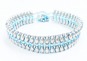 Flat SuperDuo Bracelet Beadwork Kit - Silver and Blue
